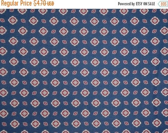 ON SALE REMNANT--Navy Blue Classic Allover Foulard Print Pure Cotton Fabric--One Yard