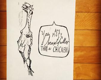 Compliment  - Original Art - Hand Pressed Linoleum Cut