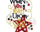 When You Wish Upon A Star Applique Design For Machine Embroidery,  INSTANT DOWNLOAD now available