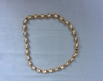 Necklace Clear Crystals gold Tone