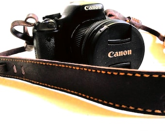 Dark brown English Bridle vegetable leather camera strap, Brown hand stitched