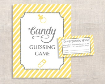 Candy Guessing Baby Shower Game, Yellow Stripe, Guess How Many Candies, M&M's, Jelly Beans, etc., Neutral, DIY Printable, INSTANT DOWNLOAD