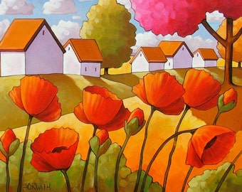 Garden Poppies Print Giclee 5x7, Folk Art Country Red Flowers Wall Decor by Artist Cathy Horvath, Cottage Floral Landscape Artwork Picture