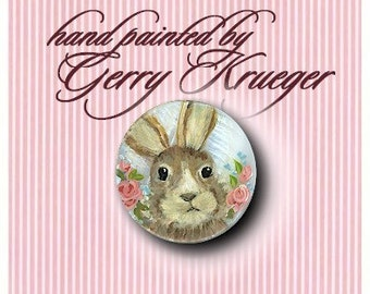 Hand painted Bunny  Button -