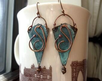 Patina Triangle Rustic Earrings, Boho, Bohemian, Dangle, Chandelier Earrings