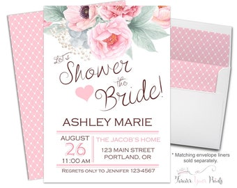 Bridal Shower Invitation Printable or Printed Floral Bridal Invite Pink Flowers Bridal Invitation Floral Bridal Invite Shower The Bride