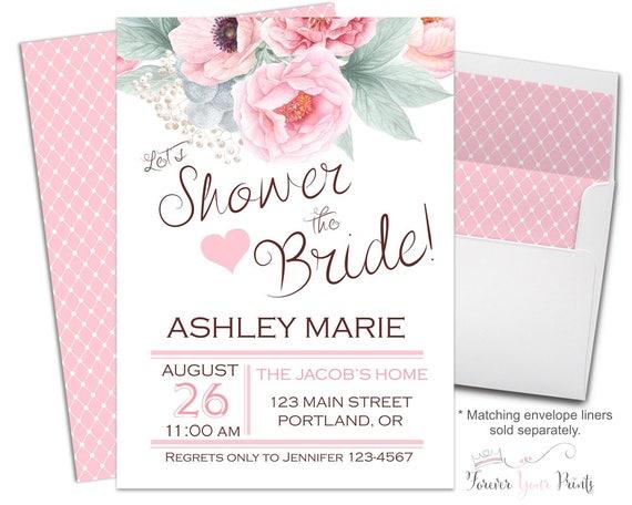 Bridal Shower Invitation Printable or Printed Floral Bridal Invite Pink Flowers Bridal Invitation Floral Bridal Invite Shower The Bride