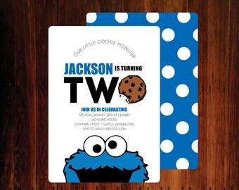 Cookie Monster Birthday Invitations - digital file