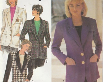 Blazer Pattern Lined and Loose Fitting 2 Button 1992 Misses Size 6 - 10 Uncut Simplicity 8036