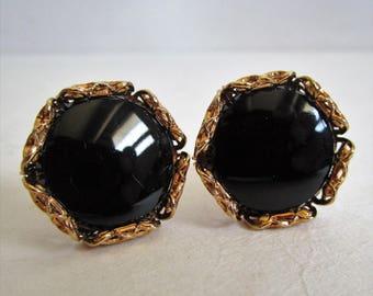 Vintage 60s Onyx Cuff Links HICKOK 1960s Black Gold Tone Lattice Mens Cufflinks