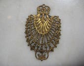 RESERVED for Miss M - Antique Victorian Brass Filigree Jewelry Finding, Dapt Lacey Brass, Original Component, , 52mmx32mm, 1 Pc Light Patina