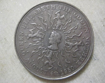 25 New Pence Coin, Vintage 1980, United Kingdom - Elizabeth II, Commemorative issue; 80th birthday of Queen Elizabeth the Queen Mother
