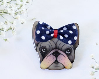 French Bulldog Dog With Bow Wearable Art Pin by Winnifreds Daughter