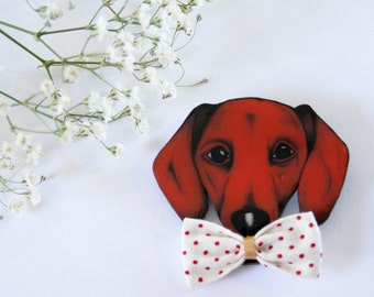 Dachshund Dog With Bow Wearable Art Pin by Winnifreds Daughter