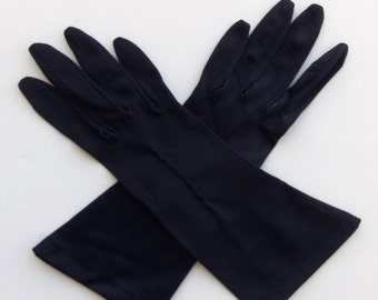 Vintage 50's 60's Gloves Nylon Navy Blue with Decorative Stitching  Van Raalte Size 6.5