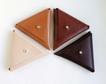 Leather Coin Pouch, Triangle Coin Purse, Ear Phone or Cord Organiser