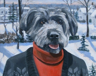 Dog Pet Portraits custom made painting Christmas
