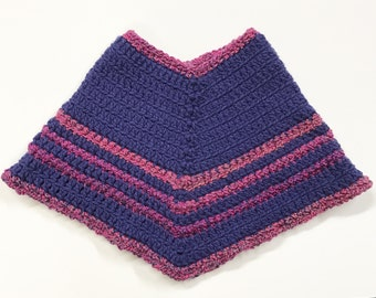 Girls Poncho, Blue & Purple Poncho, Sz. 2-3 Poncho, Dark Blue Poncho, Girls Blue and Purple Poncho, Blue With Pink and Purple Poncho