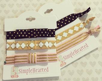 Baby Bow Headband Set: Newborn Baby Girl Headband + Set of 3 + Toddler or Teen Hair Tie + Boho + Turban + Tieback + Mini Bow + Party Favors