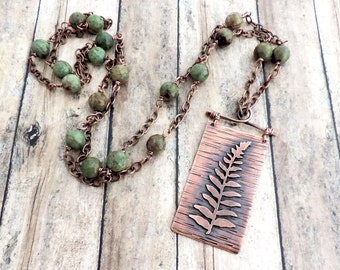 Rustic Fern Necklace - Nature Jewelry -  Forest Inspired - Green Beaded Necklace - Woodland Design