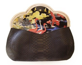 New years eve purse, Free shipping Horse evening bag, black leather purse, crosbody horse purse, women's clutch wallet