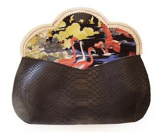 SALE Horse evening bag, black leather purse, crosbody horse purse, women's clutch wallet