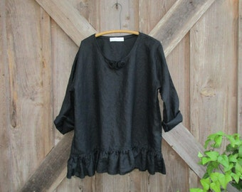 linen top blouse with roses in black ready to ship