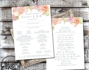 Soft Floral Watercolor Spring Summer Fall Wedding PROGRAM
