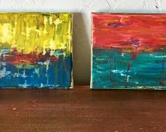 Set of Two Minis Original Acrylic titled, Lemon Sky and Raspberry Sky
