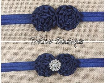 Navy Blue Mini Satin Rosette Headband, Lace Headband, Newborn, Baby, Child, Flower Girl Headband