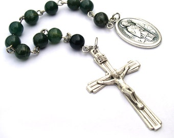 Saint Patrick Moss Agate One Decade Rosary