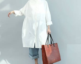 Loose Fitting Linen Shirt Blouse for Women  - Women Top- Women Clothing (R)