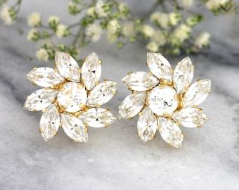 Bridal Earrings, Bridal Clear Crystal Earrings, Bridal Studs, Swarovski Earrings, Bridesmaids Earrings, Clear Crystal Earrings, Bridal Studs