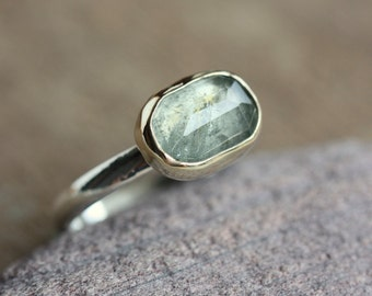 Moss Aquamarine Ring, 14k Gold and Sterling Silver