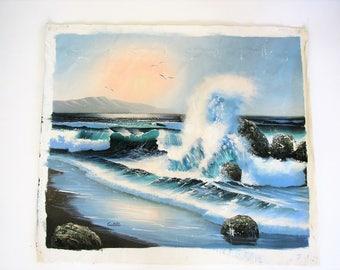 Vintage painting/ seascape/ original artwork/ painting of sea/coastal decor