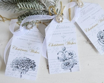 Christmas Gift Tags, Gift Tags, French Script Gift Tags, French Gift Tags, French Christmas Gift Tags, Shabby Gift Tags, Shabby Christmas