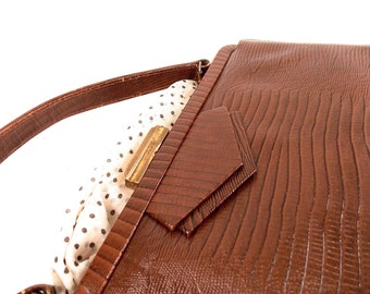 Womens, ArtDeco, 1950/60s Top Handle Pebble Brown, Faux Alligator, Reptile, Handbag, Clutch, Evening Bag, Satchel, Purse