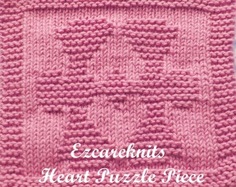 Knitting Cloth Pattern - HEART PUZZLE PIECE