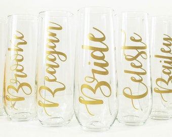 Personalized Stemless Champagne Glasses / Bridal Party Gifts / Bridesmaid Gift / Bridesmaid Box / Bridesmaid Champagne Flute / Bridal Shower