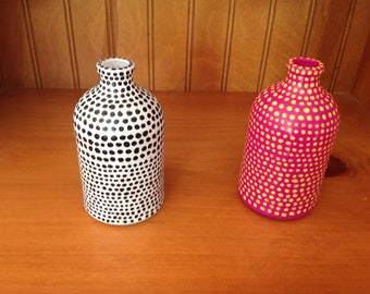 Upcycled glass vase dot painting choose white or pink upon checkout
