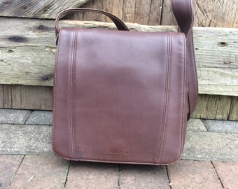 Italian Coach Bag, Leather Shoulderbag, Brown, Saddlebag Satchel Handcrafted in Italy