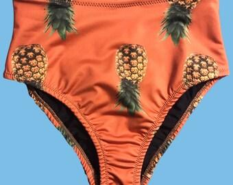 NEW Caramel Pineapple High Waisted Cheeky Fit Bikini Bottom