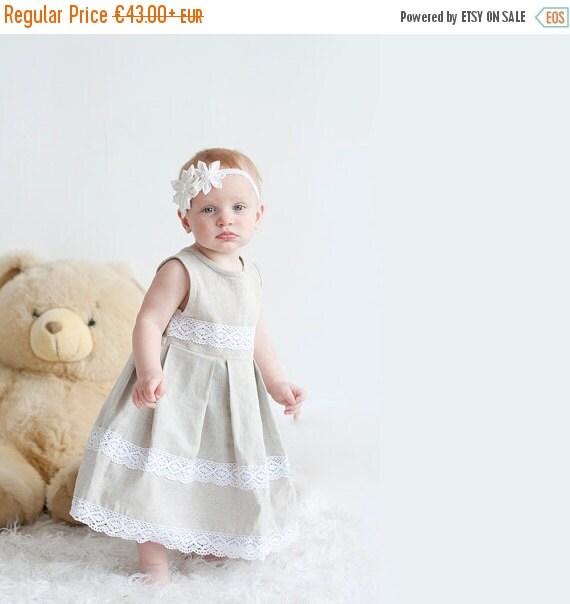 SALE Rustic flower girl dress - Rustic linen girl dress with lace - Infant girl dress - Linen girl dress - Flower girl dress - Gray girl dre