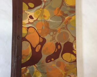 Handmade Sketchbook, Journal with Hand Marbled Paper and Embossed Leather Spine