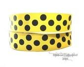 10 Yds WHOLESALE 1.5 Inch Yellow-Black Jumb Polka Dots grosgrain ribbon LOW SHIPPING Cost