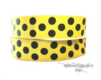 10 Yds WHOLESALE 1.5 Inch Yellow-Black Jumb Polka Dots grosgrain ribbon LOW SHIPPING Cost