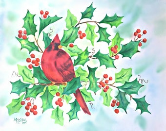 Watercolor Red Bird Holly Berries by Artist Martha Kisling