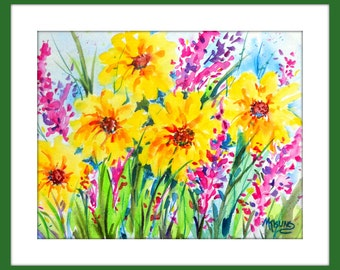 Watercolor Canvas, Watercolor Spring Flowers, Garden Art, Flower Art, Yellow Flowers, Pink Flowers, Martha Kisling