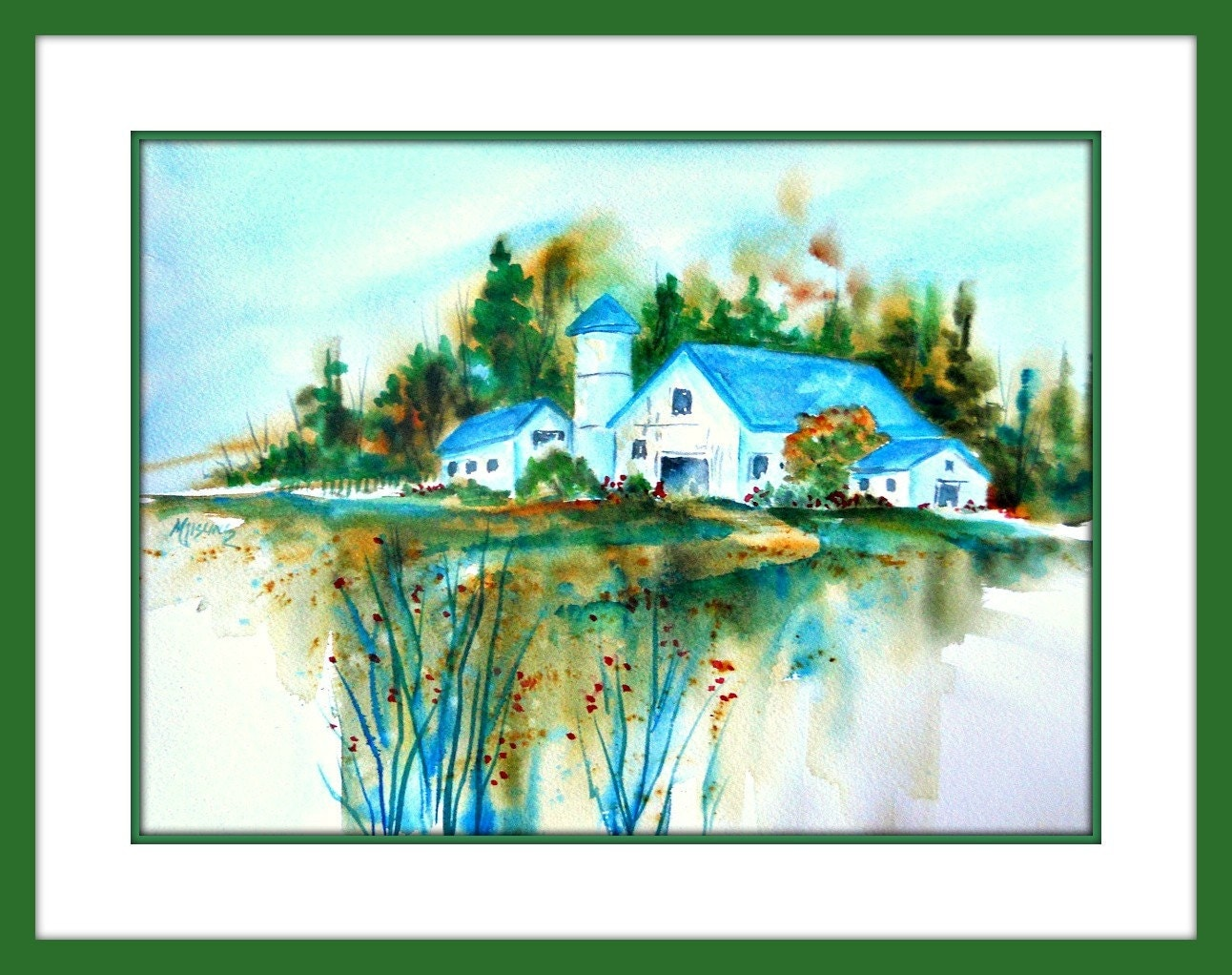 Watercolor Barn Blue Country By Martha Kisling Art With Heart