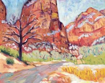 Zion Winter - Painting, Original Oil, Oil painting, Zion National Park, Virgin River, Angels Landing, Red Cliffs